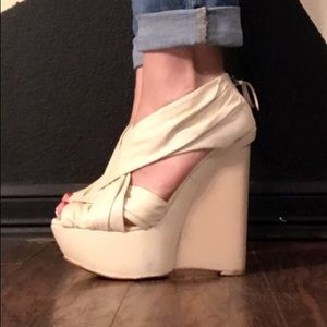 Joe's Jeans leather platform wedge sandals sz 9